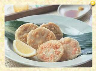 れんこんの天ぷら2種(ひき肉サンドと明太子詰め)