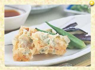 ウナギのしそ風味天ぷらとそうめん