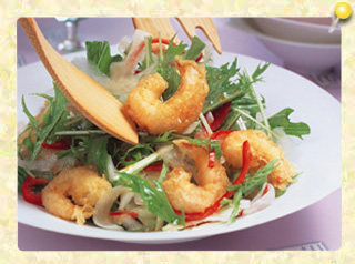エビ天と大根と水菜の甘酢サラダ