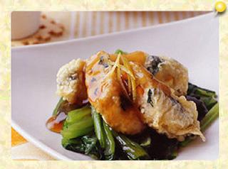 豆腐ハンバーグの天ぷらゆず風味