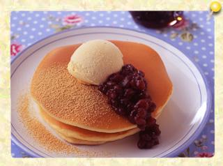 あずき&アイスのホットケーキ