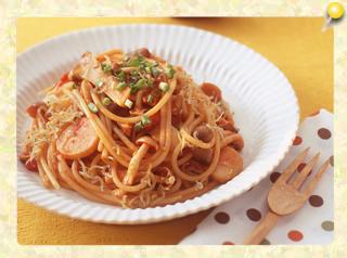 きのことじゃこの和風トマトスパゲッティ