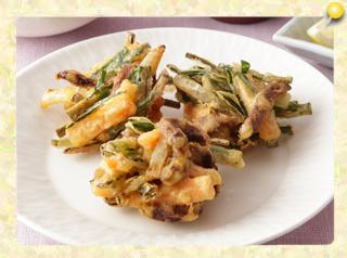 豚レバーと野菜のカレー風味かき揚げ