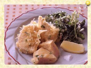 竹の子の肉詰め天ぷらとクレソンの天ぷら