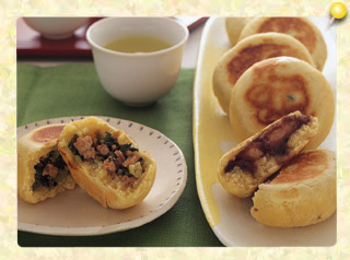 お焼き2種(野沢菜あん・バナナ入りごまあん)