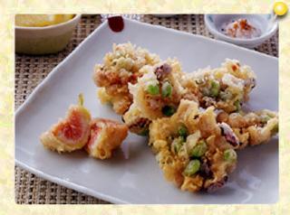 いろいろ豆といちじくの天ぷら