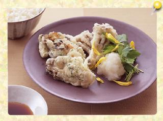 カキの磯風味天ぷら おろしポン酢仕立て