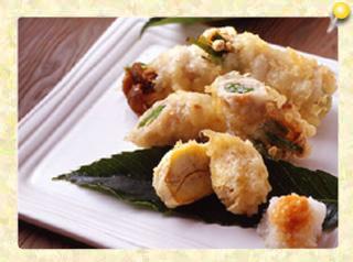 豚肉のきのこロールと栗の天ぷら
