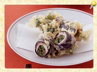 イワシと菜の花の天ぷら