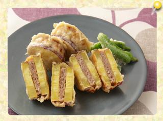 さつま芋のひき肉サンド天ぷら