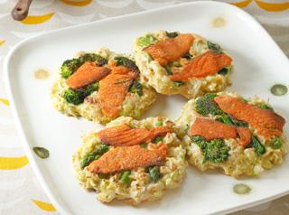 春野菜とスモークサーモンのお好み焼
