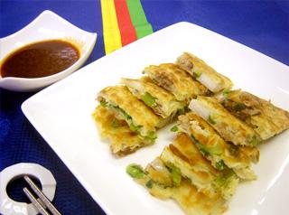 小松菜と里芋のチヂミ